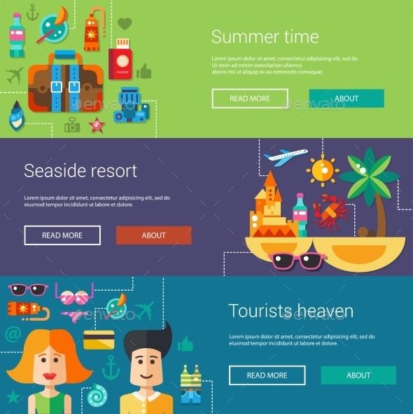 Set of Flat Summer Designs  - Travel Conceptual