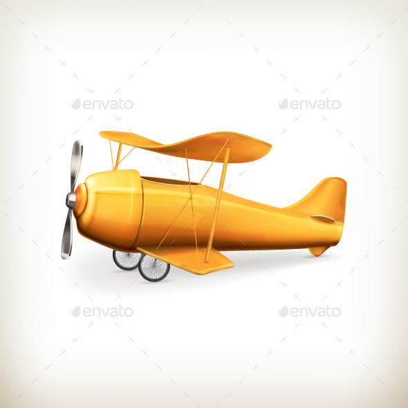 Yellow Aircraft Illustration - Man-made Objects Objects