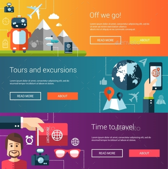 Set of Flat Travel Designs - Travel Conceptual