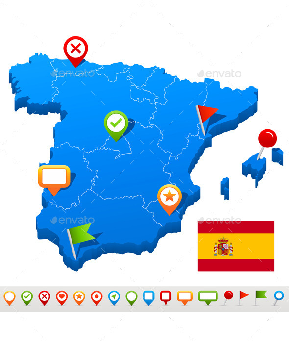 Spain Map and Navigation Icons - Travel Conceptual