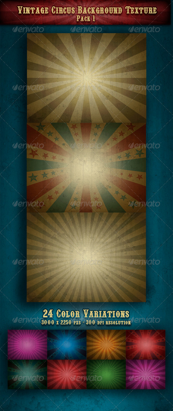 Vintage Circus Backgrounds/Textures Pack 1  - Backgrounds Graphics