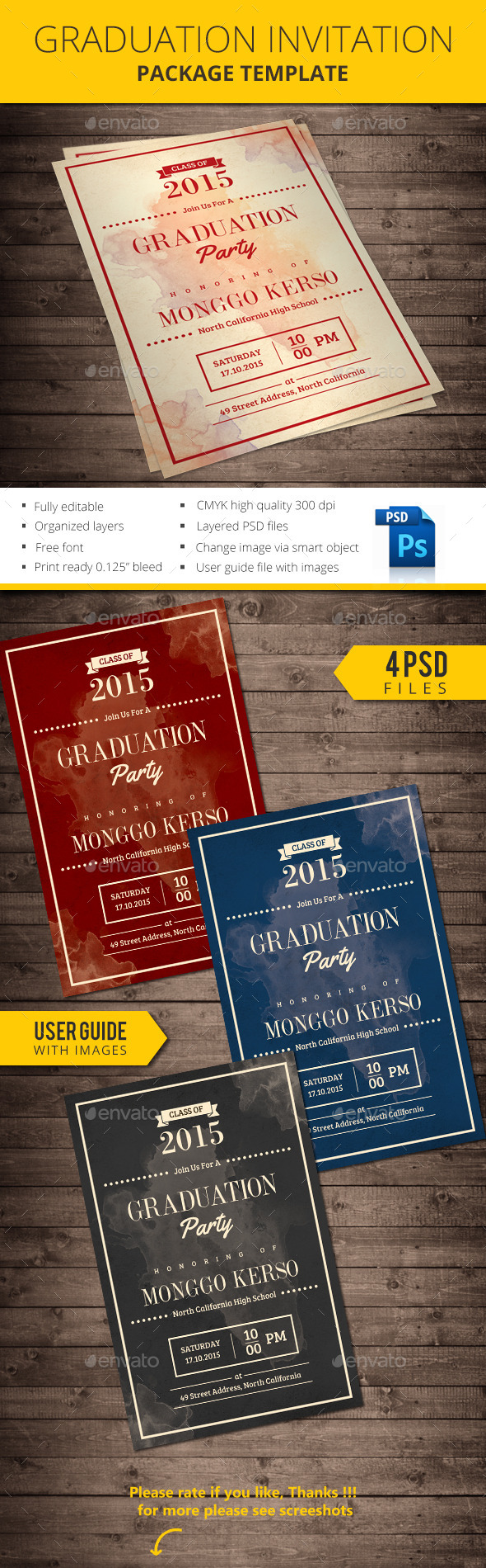 Graduation invitation by monggokerso | GraphicRiver