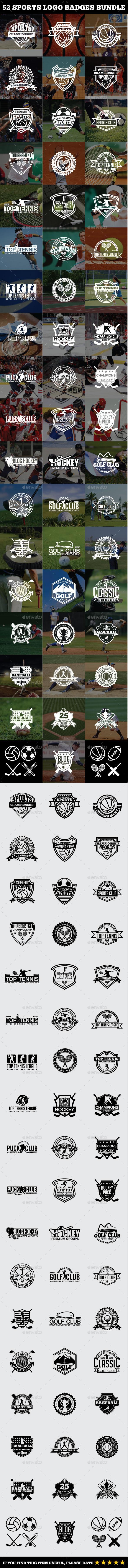 52 Sports Logo Badges Bundle - Badges & Stickers Web Elements