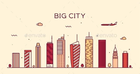 Big City Skyline Trendy Vector Illustration Linear - Buildings Objects