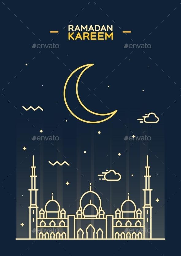 Holy Month Muslim Ramadan Kareem Flat Vector - Religion Conceptual