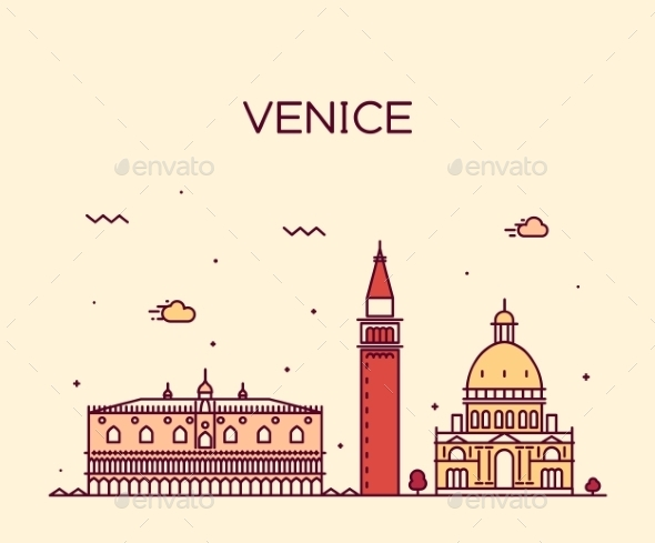 Venice Skyline Trendy Vector Illustration Linear - Buildings Objects