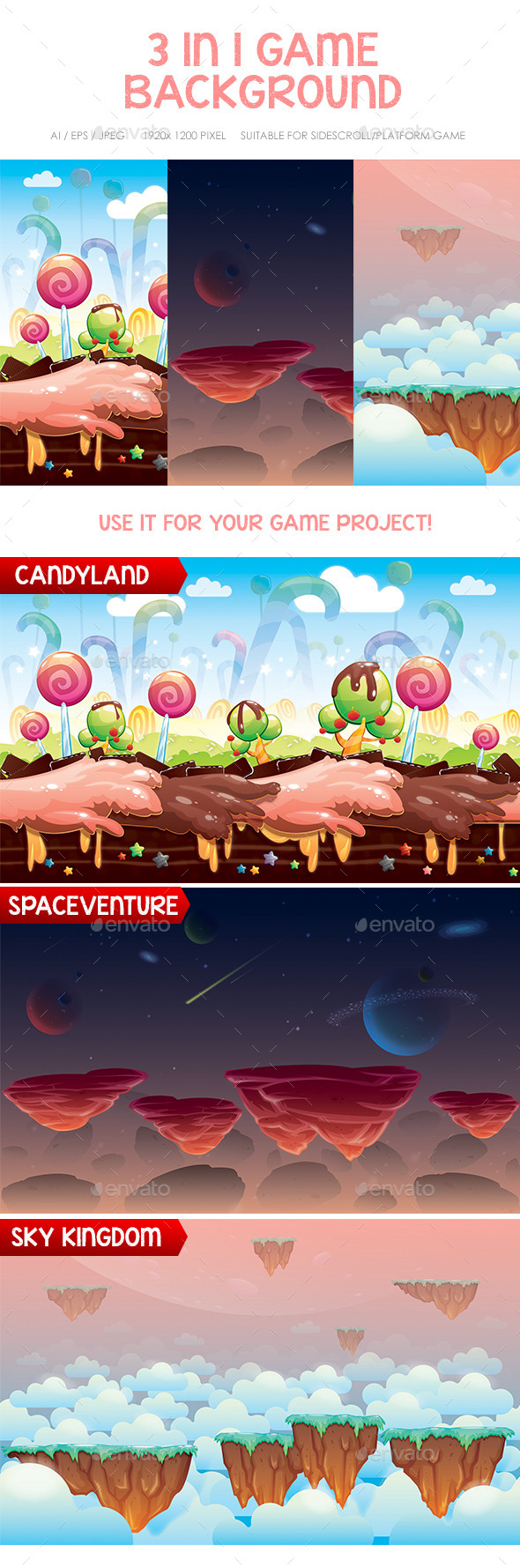 Space, Candy & Sky Game Background - Backgrounds Game Assets