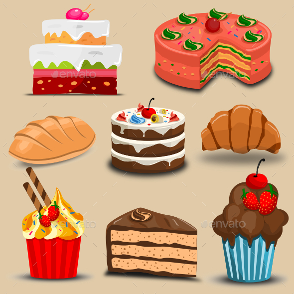 Cakes and Breads - Food Objects