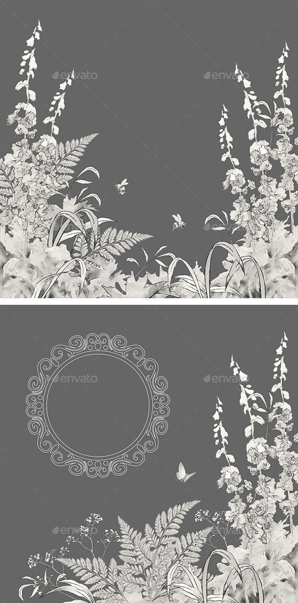 Sketch Floral Summer Background Set