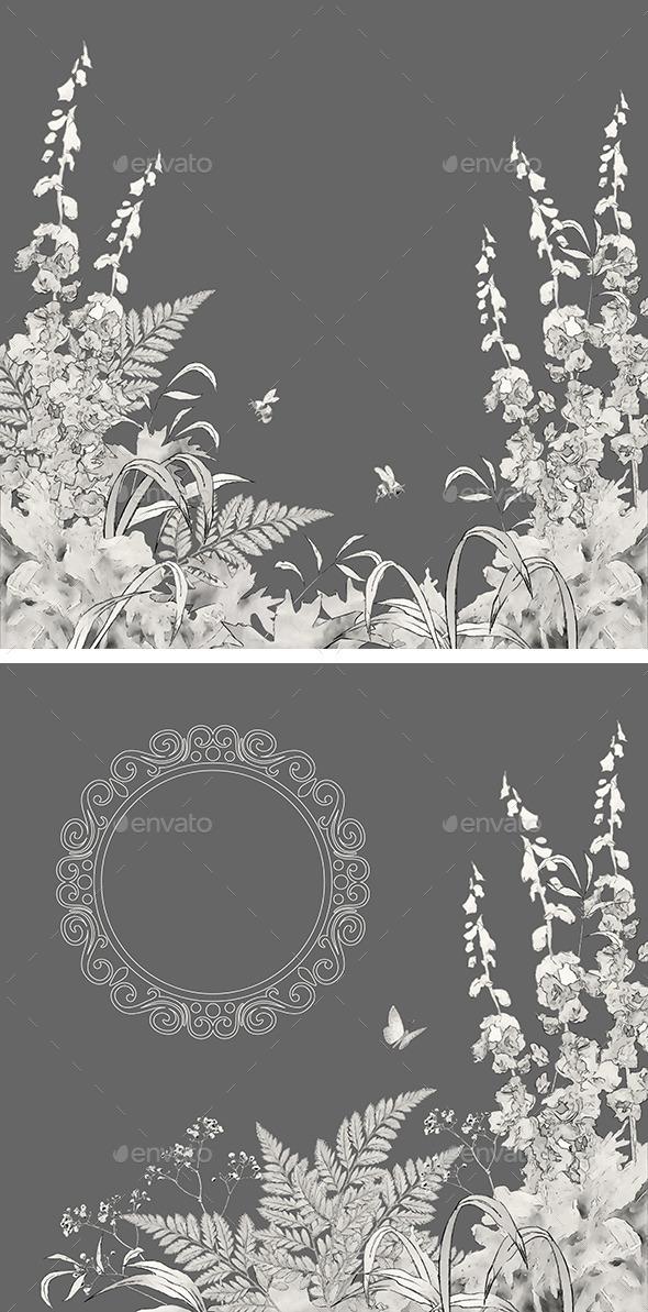 Sketch Floral Summer Background Set - Nature Backgrounds