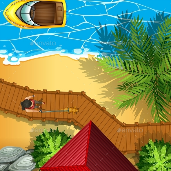 Aerial Perspectve with Beach and Boat - Miscellaneous Conceptual