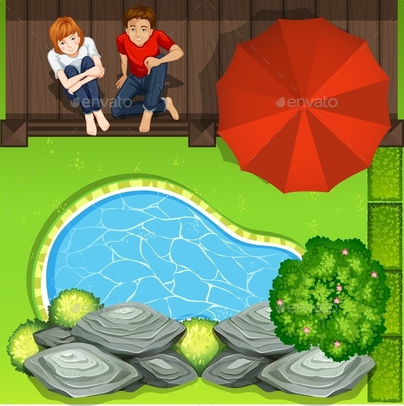 Couple Sitting Near Pond Aerial Perspective - Miscellaneous Conceptual