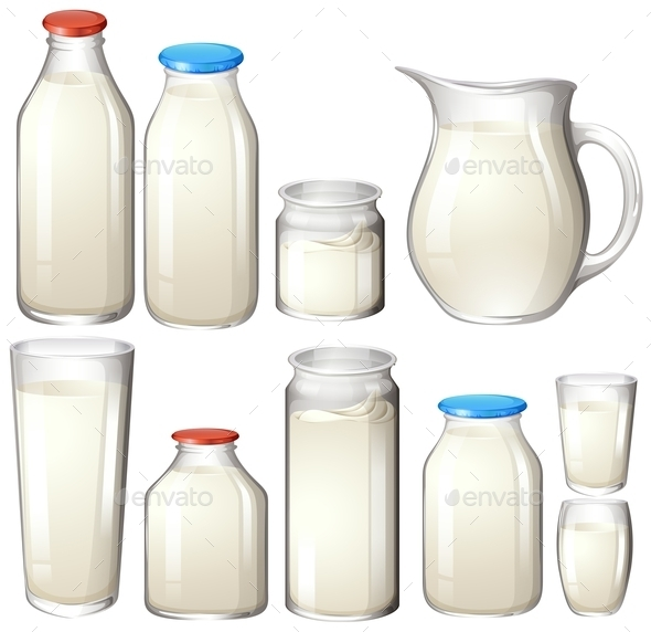 Milk and Drink Botles on White - Food Objects
