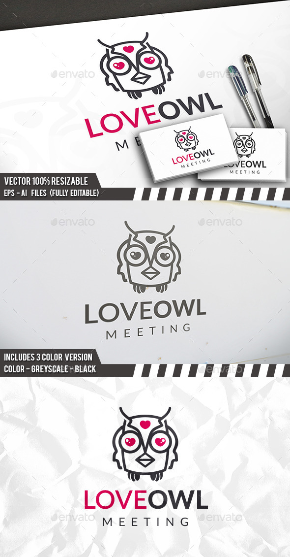 Owl Love Logo - Animals Logo Templates
