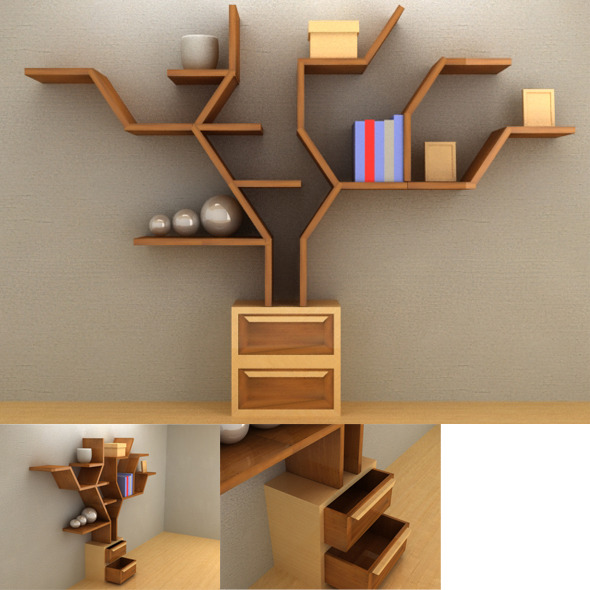 Tree Shelf Set - 3DOcean Item for Sale
