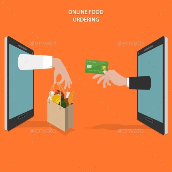 Online Food Ordering Flat Vector Concept. - Retail Commercial / Shopping