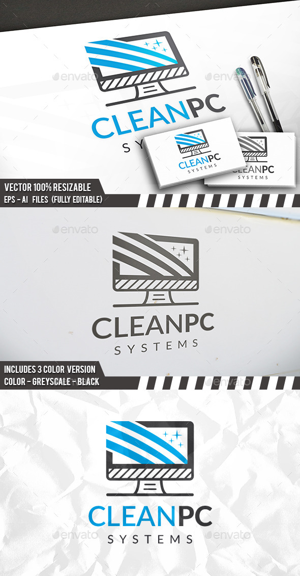 Clean Computer Logo - Objects Logo Templates