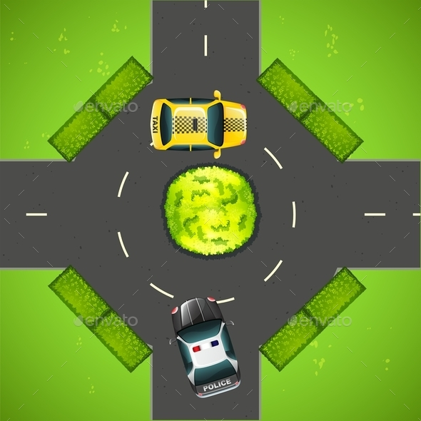 Taxi and Police Car on the Road - Miscellaneous Conceptual