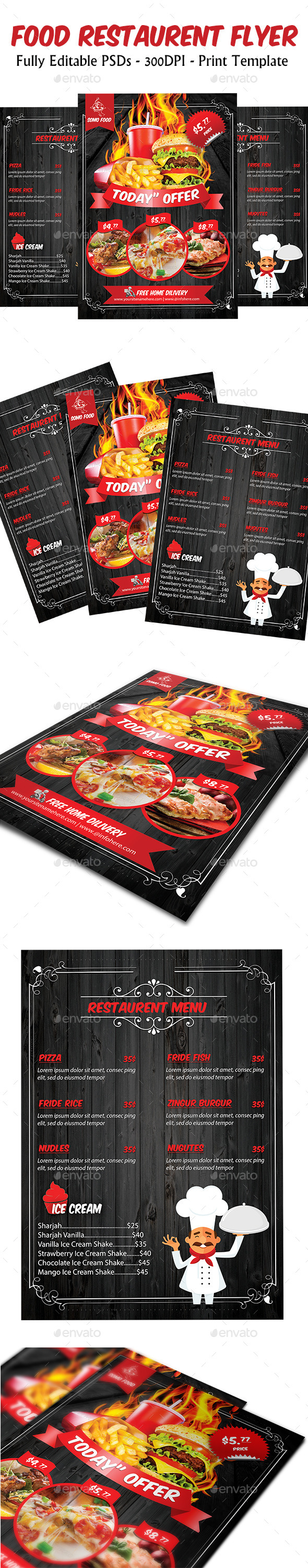 Food Restaurant Flyer & menu template - Flyers Print Templates