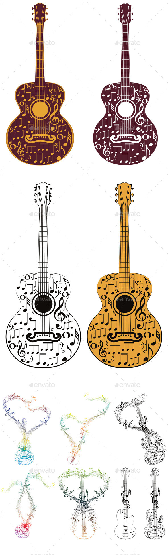 Guitar and Music Notes - Objects Vectors