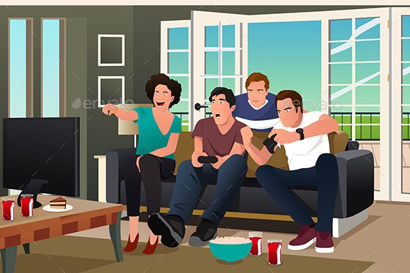 Teenagers Playing Video Game - People Characters
