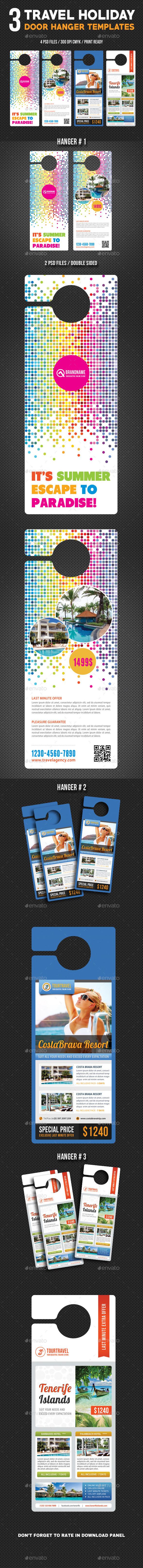 3 Travel Holiday Door Hanger Bundle 01 - Miscellaneous Print Templates