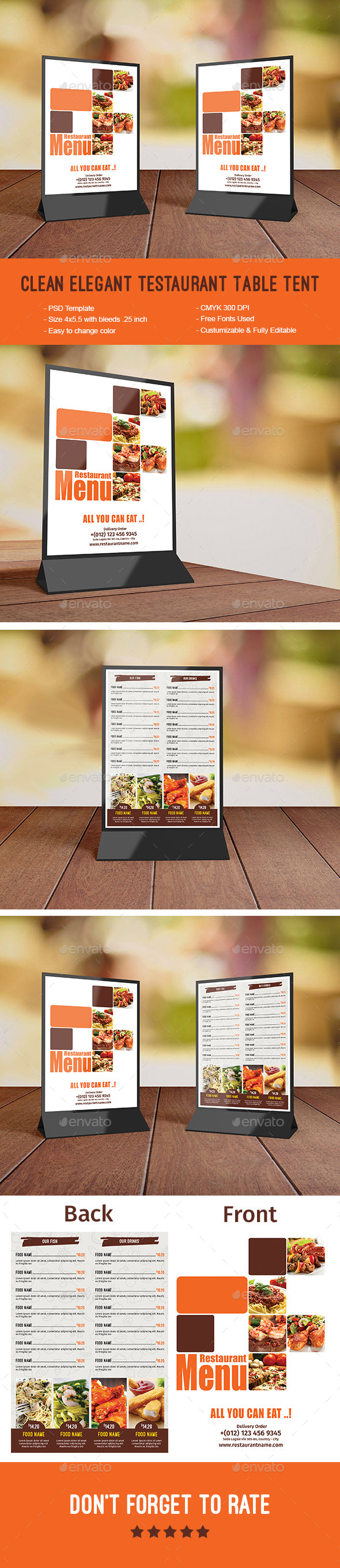Clean Elegant Restaurant Table Tent - Food Menus Print Templates