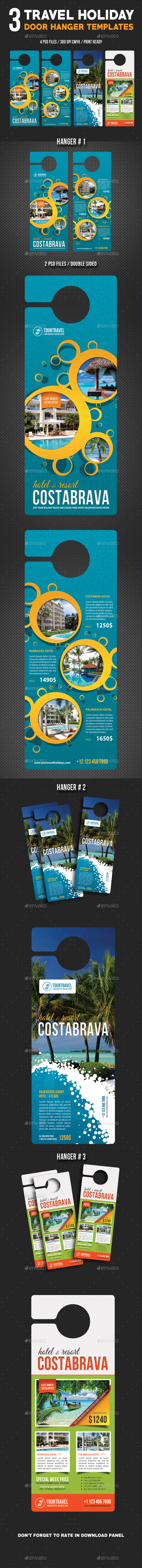 3 Travel Holiday Door Hanger Bundle 02 - Miscellaneous Print Templates