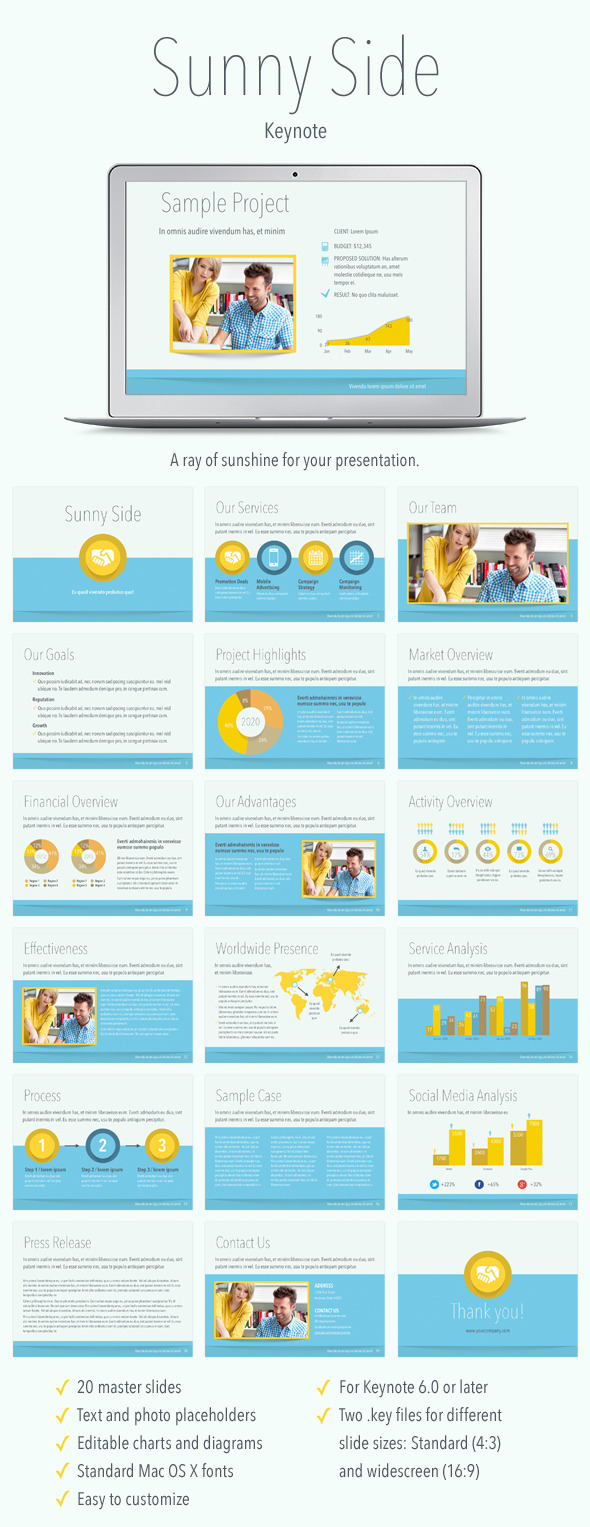 Sunny Side Keynote Template - Abstract Keynote Templates