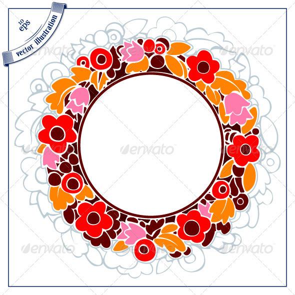 Decorative Round Floral Border - Borders Decorative
