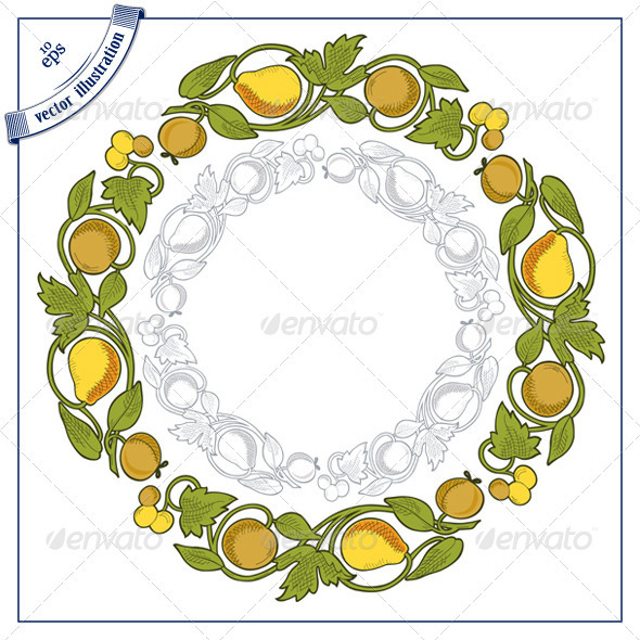 Decorative Round Fruit Border - Food Objects