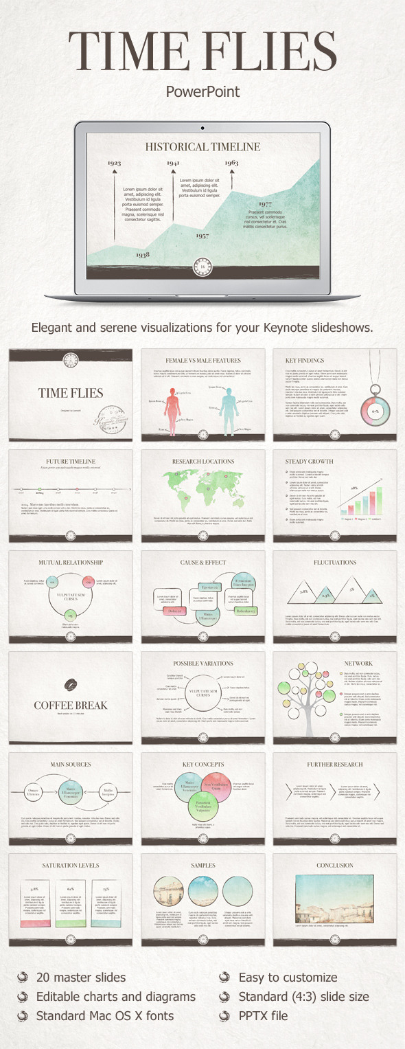 Time Flies PowerPoint Template - Presentation Templates
