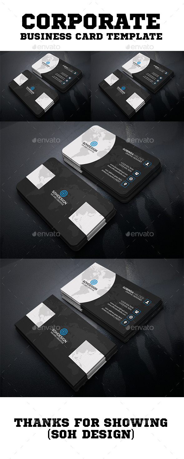 Corporate Business Card Template V.39 - Business Cards Print Templates