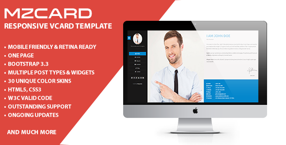 MilZinCard - Responsive vCard Template  - Virtual Business Card Personal