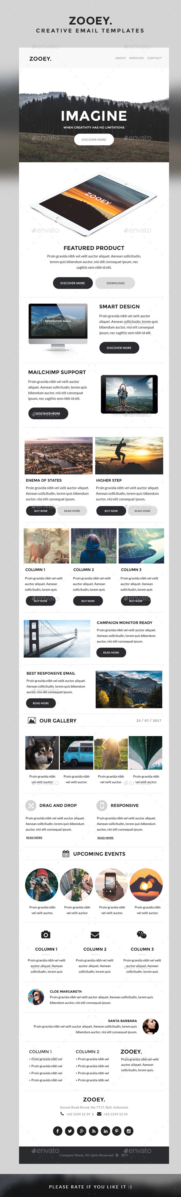 Zooey - Creative Email Templates - E-newsletters Web Elements