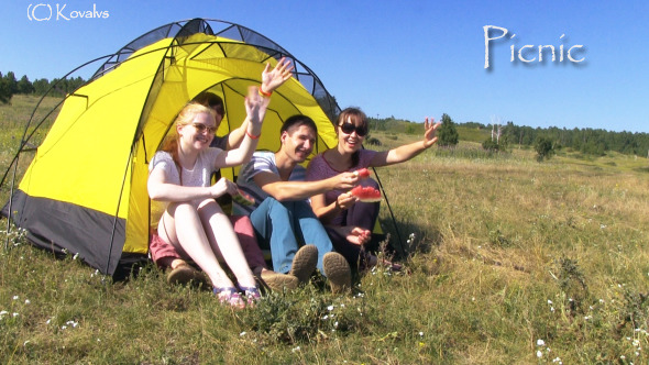 Happy Young People In The Tent