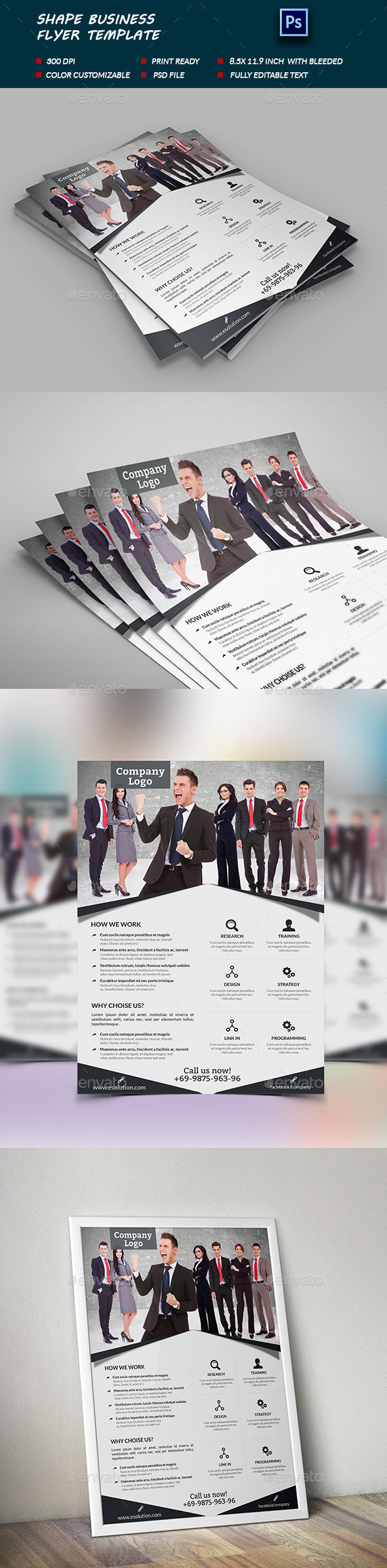 Shape business Flyer Template - Flyers Print Templates
