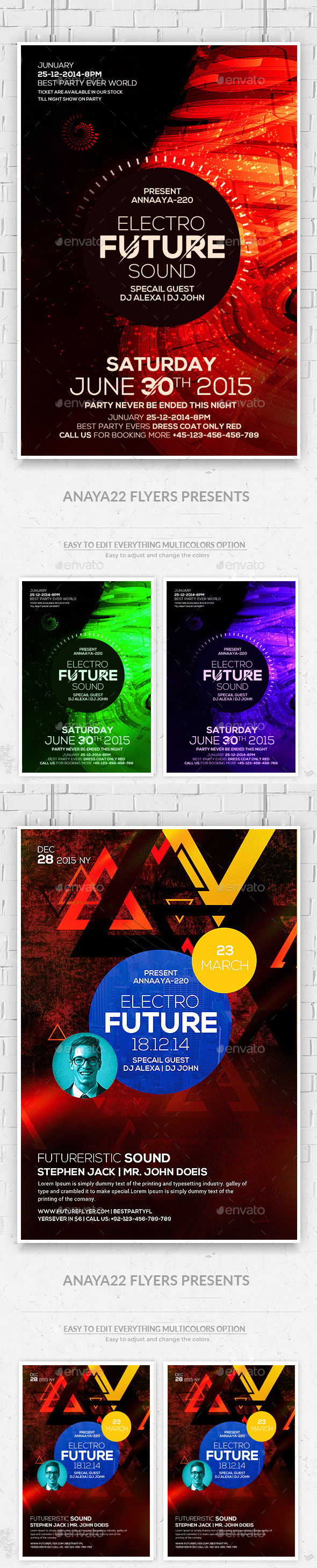 Futuristic Flyer Psd Bundle - Clubs & Parties Events