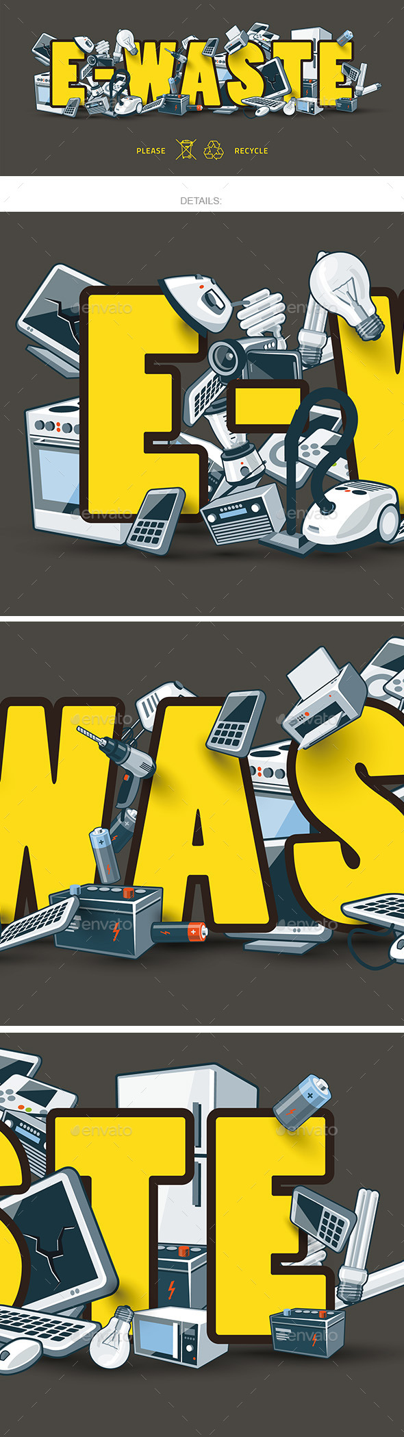 E-Waste Sign with Electronic Devices - Miscellaneous Characters