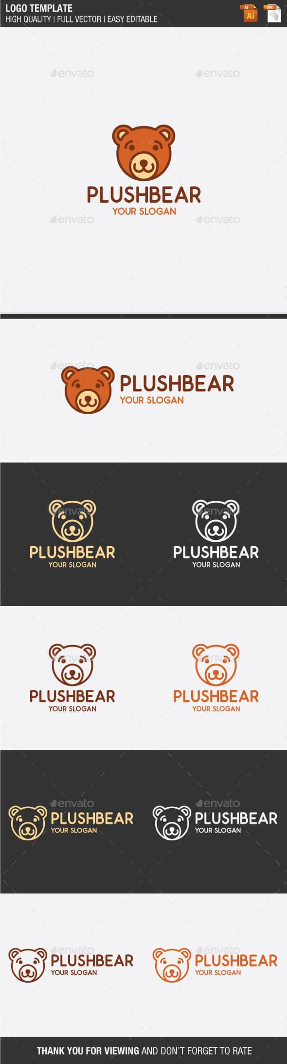 Plush Bear Logo - Animals Logo Templates
