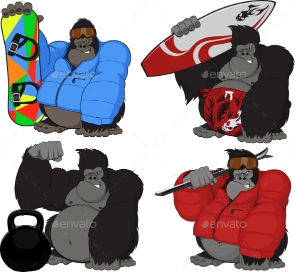 Set of 4 Gorillas - Animals Characters