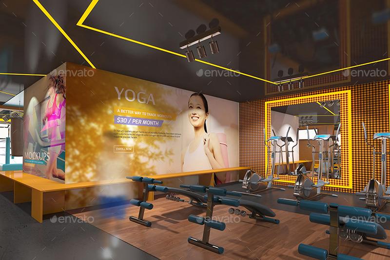 07 Fitness Gym Interior Design Branding Mockups