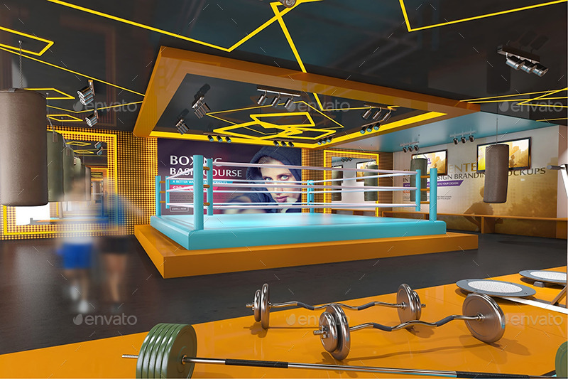 Fitness gym interior design branding mockups by wutip for Gym design software