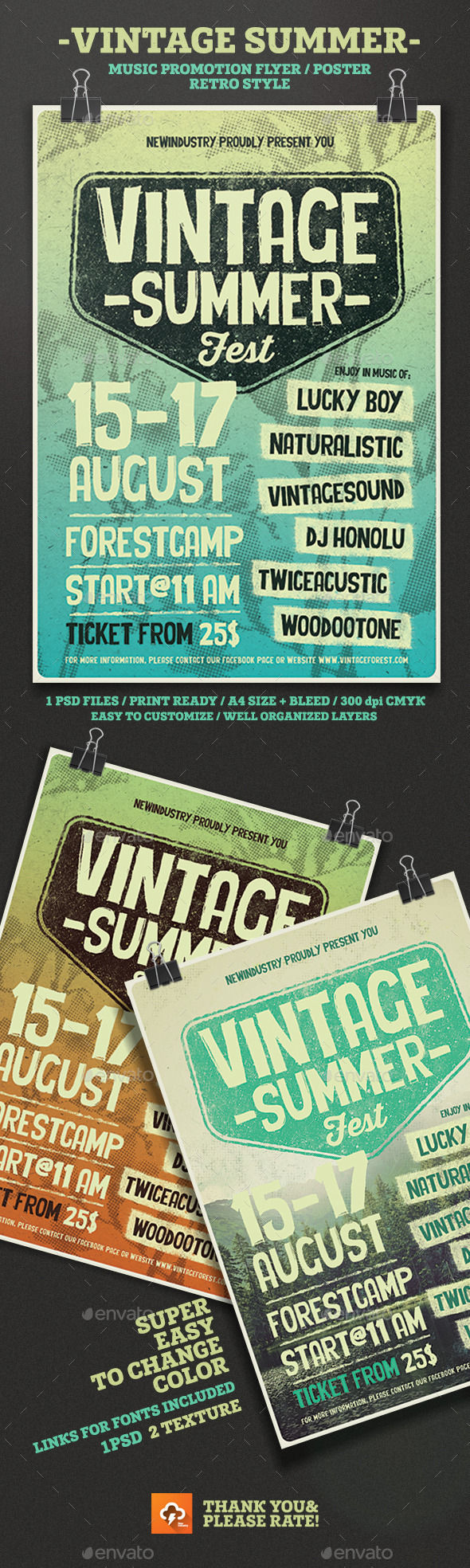 Vintage Summer Fest Poster/Flyer - Events Flyers