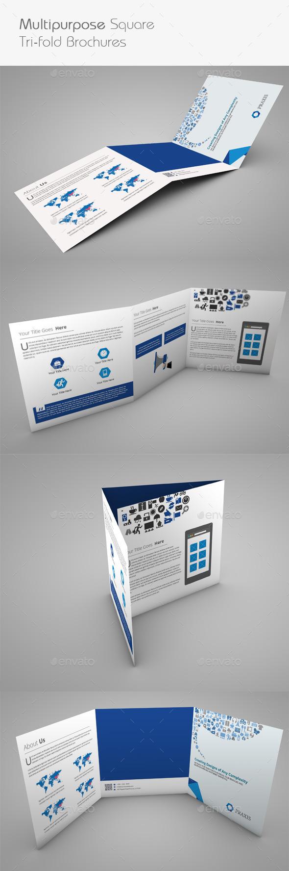 Multipurpose Square Tri-Fold Brochures - Brochures Print Templates