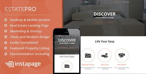 EstatePro - Real Estate Instapage Landing Page - Instapage Marketing
