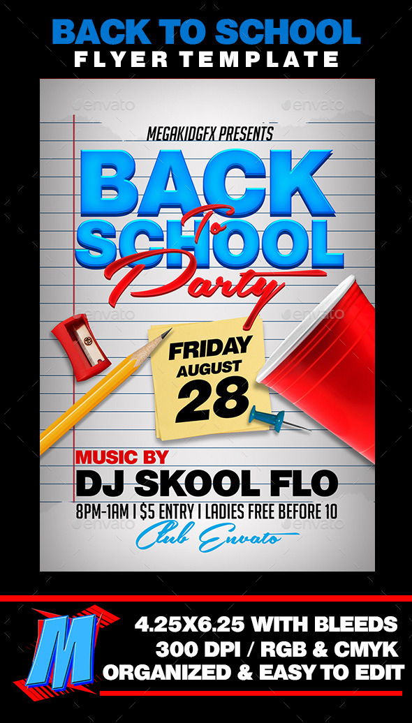 Back To School Party Flyer Template By Megakidgfx | Graphicriver