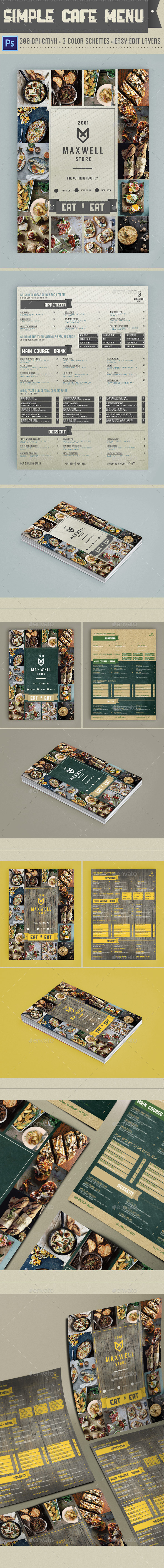 Simple Cafe Menu - Food Menus Print Templates