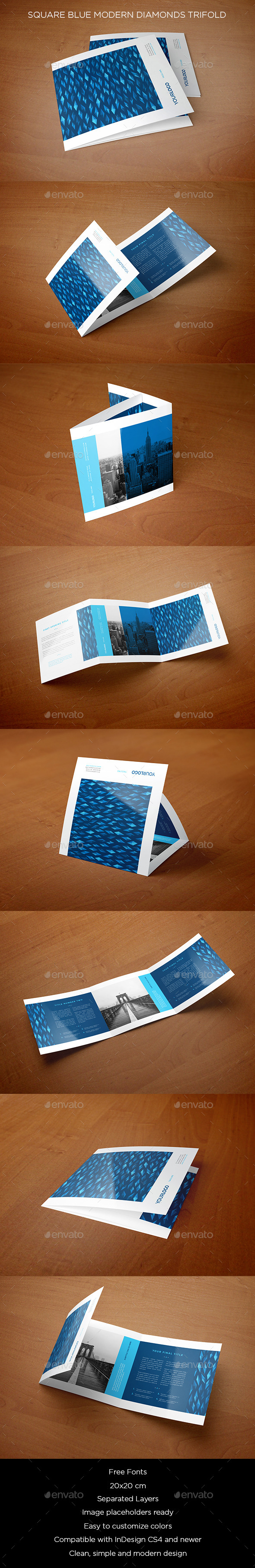 Square Blue Modern Diamonds Trifold - Brochures Print Templates