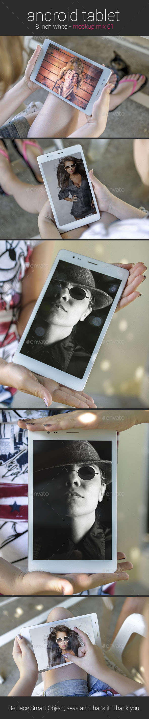Girl Holding an Android Tablet - Mockup - Mobile Displays